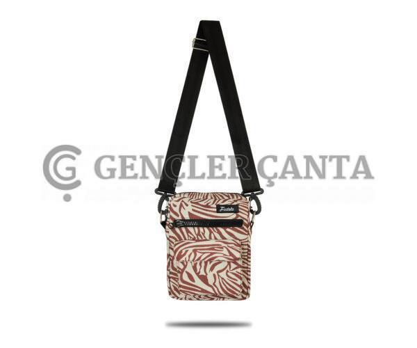 Fudela çapraz askılı rahat günlük kullanım omuz çantası Krem Zebra