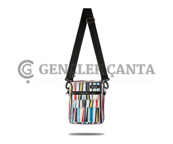 Fudela Çapraz Askılı Rahat Günlük Kullanım Omuz Çantası Renkli Çizgiler